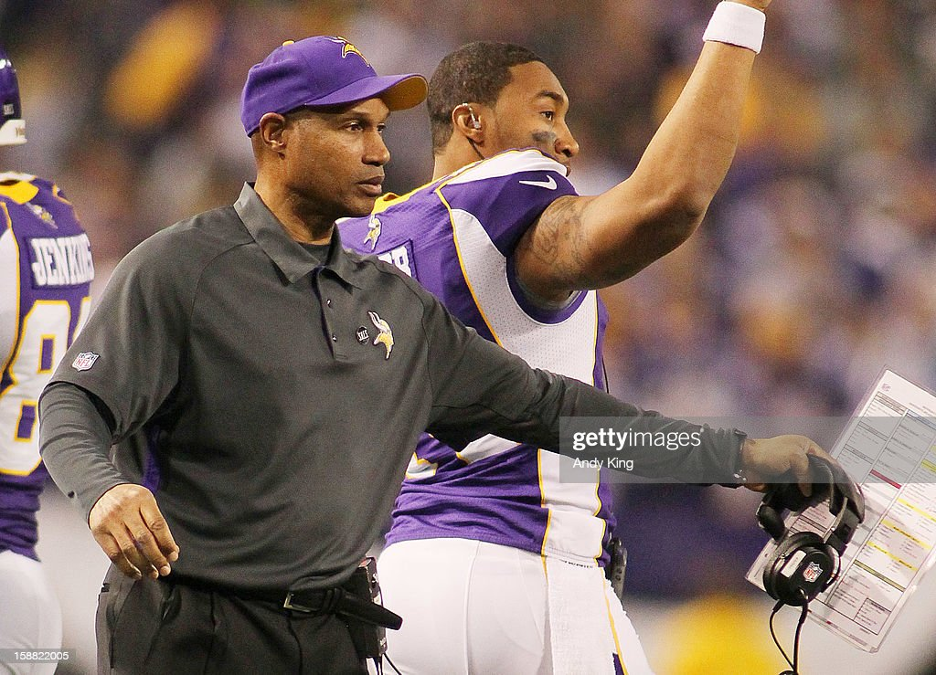 Minnesota Vikings head coach <a gi-track='captionPersonalityLinkClicked' href=/galleries/search?phrase=Leslie+Frazier&family=editorial&specificpeople=2295716 ng-click='$event.stopPropagation()'>Leslie Frazier</a> congratulates players during the game against Green Bay Packers on December 30, 2012 at Mall of America Field at the Hubert H. Humphrey Metrodome in Minneapolis, Minnesota. The Vikings defeated the Packers 37-34.