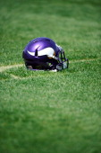 Minnesota Vikings helmet lays in the grass during a rookie minicamp on May 4 2012 at Winter Park in Eden Prairie Minnesota