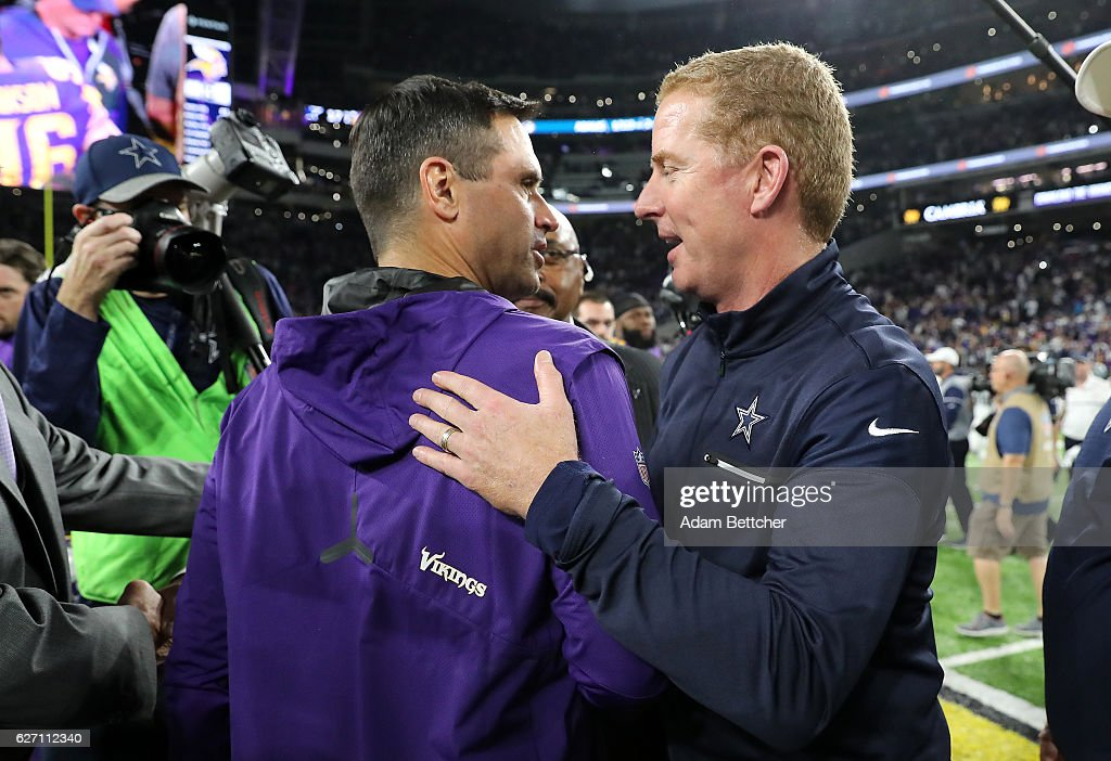 Minnesota Vikings interim head coach Mike Priefer shakes hands with Dallas Cowboys head coach Jason Garrett after the game on December 1, 2016 at US Bank Stadium in Minneapolis, Minnesota. The Cowboys defeated the Vikings 17-15.
