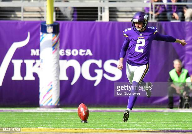Minnesota Vikings place kicker Kai Forbath on a kickoff during a NFL game between the Minnesota Vikings and Baltimore Ravens on October 22 2017 at US...