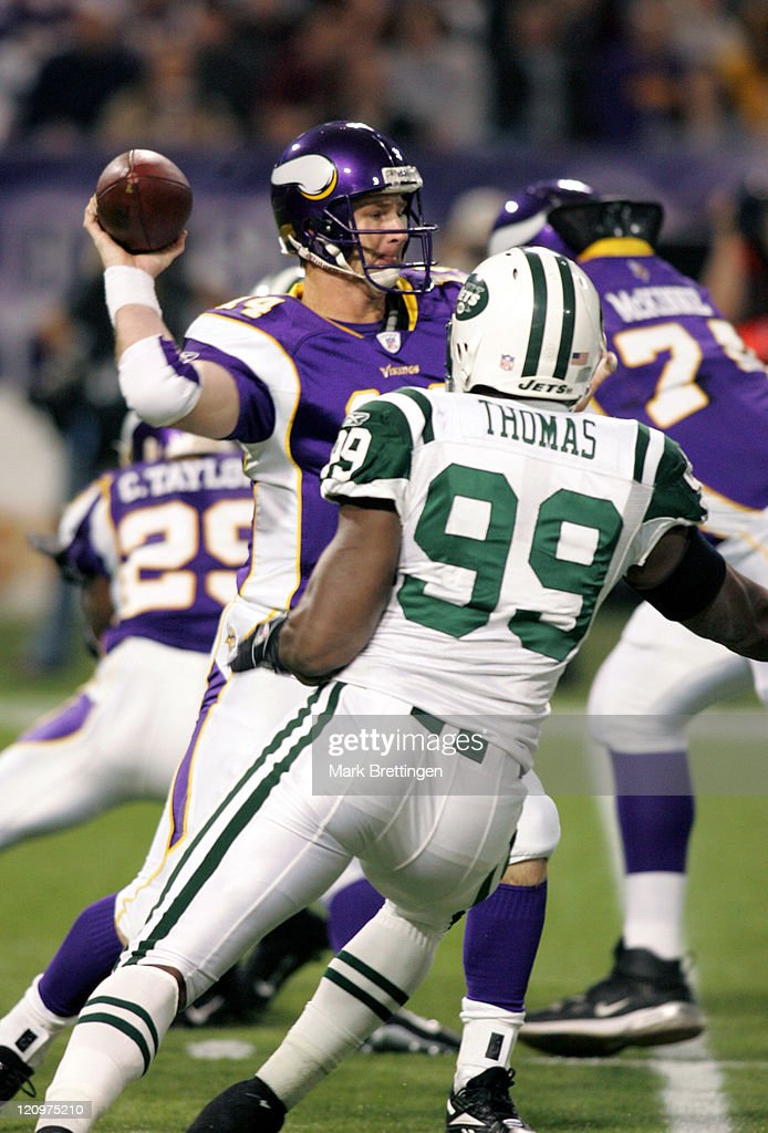 Minnesota Vikings quarterback Brad Johnson is pressured by Bryan Thomas during a game against the New York Jets on December 172006 in the Metrodome...