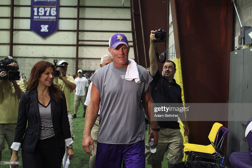 brett favre media availability photos and images getty images minnesota vikings quarterback brett favre talks the media following a press conference after the first