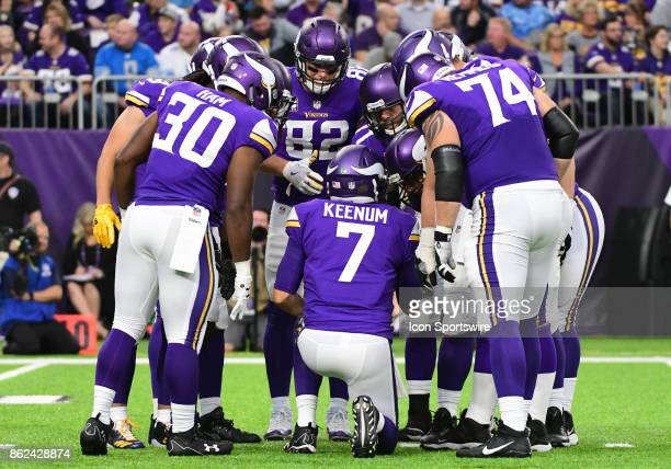 Minnesota Vikings quarterback Case Keenum calls a play in the huddle during a NFL game between the Minnesota Vikings and Detroit Lions on October 1...