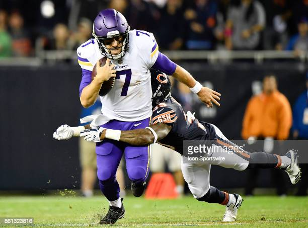 Minnesota Vikings quarterback Case Keenum is tackled by Chicago Bears free safety Eddie Jackson during the game between the Minnesota Vikings and the...