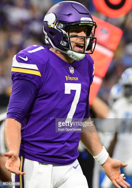 Minnesota Vikings quarterback Case Keenum questions a call during a NFL game between the Minnesota Vikings and Detroit Lions on October 1 2017 at US...
