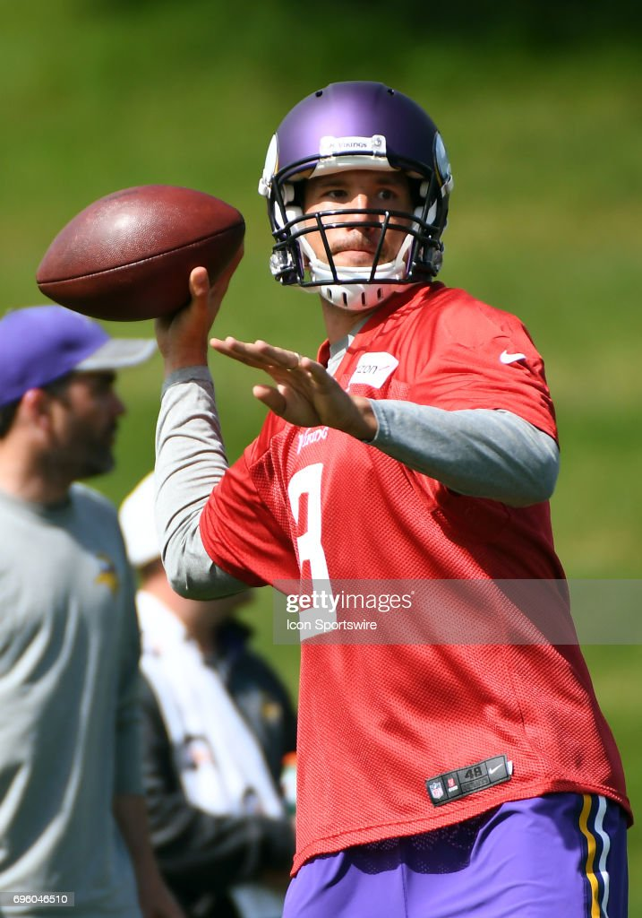 Minnesota Vikings quarterback Sam Bradford (8) makes a pass during Minnesota Vikings Minicamp on June 14, 2017 at Winter Park in Eden Prairie, MN.
