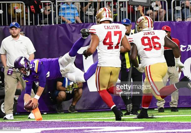 Minnesota Vikings Quarterback Taylor Heinicke scrambles leaps and finds the inside of the end zone for a game winning PAT with no time left on the...