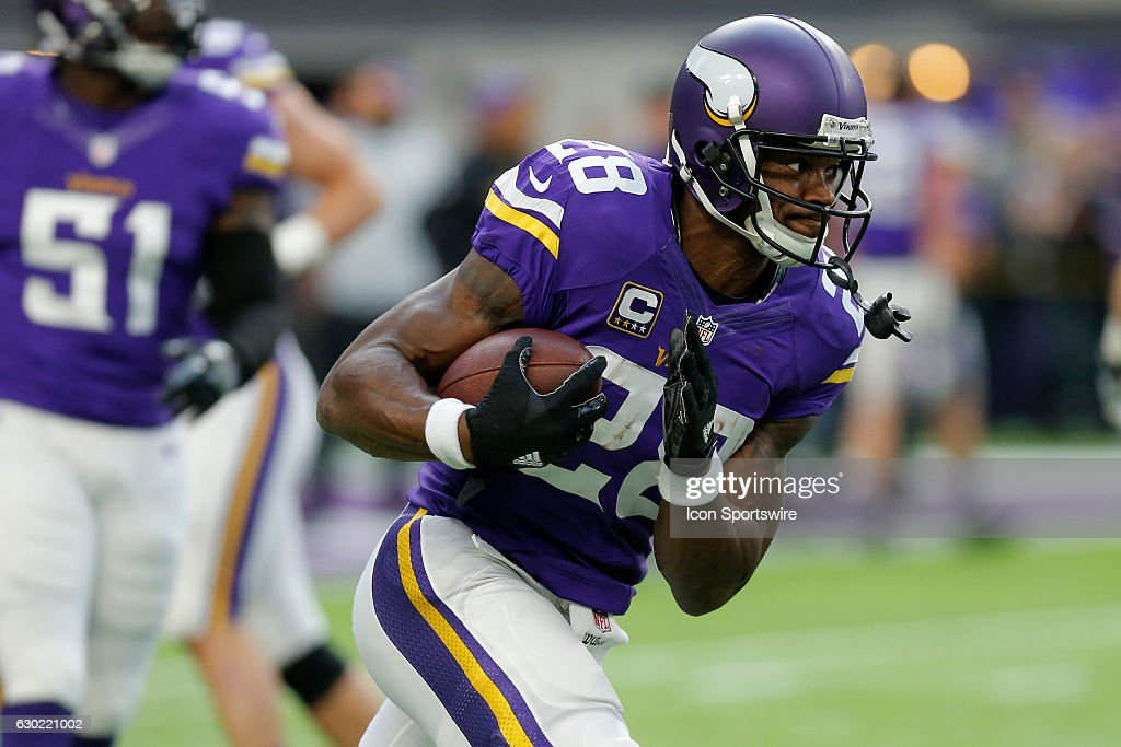 Minnesota Vikings Running Back Adrian Peterson (28) warms up prior to an NFL football game between the Indianapolis Colts and the Minnesota Vikings on DECEMBER 18, 2016, at US Bank Stadium in Minneapolis MN. The Indianapolis Colts defeated the Minnesota Viking 34-6