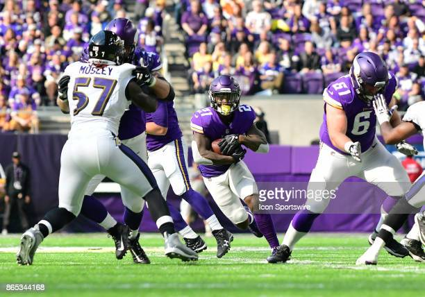 Minnesota Vikings running back Jerick McKinnon finds a running lane during a NFL game between the Minnesota Vikings and Baltimore Ravens on October...