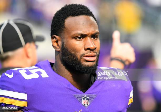 Minnesota Vikings running back Latavius Murray looks on during a NFL game between the Minnesota Vikings and Green Bay Packers on October 1 2017 at US...