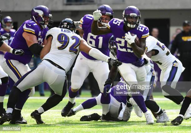 Minnesota Vikings running back Latavius Murray runs with the ball during a NFL game between the Minnesota Vikings and Baltimore Ravens on October 22...