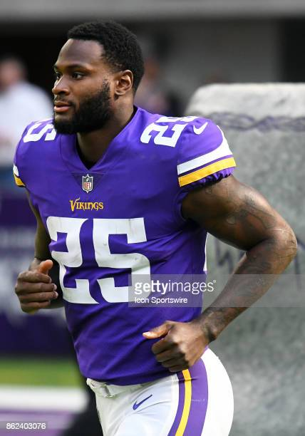 Minnesota Vikings running back Latavius Murray takes the field before a NFL game between the Minnesota Vikings and Green Bay Packers on October 1...
