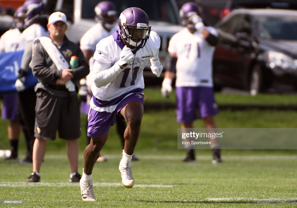Minnesota Vikings wide receiver Laquon Treadwell (11) runs a route during Minnesota Vikings Minicamp on June 14, 2017 at Winter Park in Eden Prairie, MN.