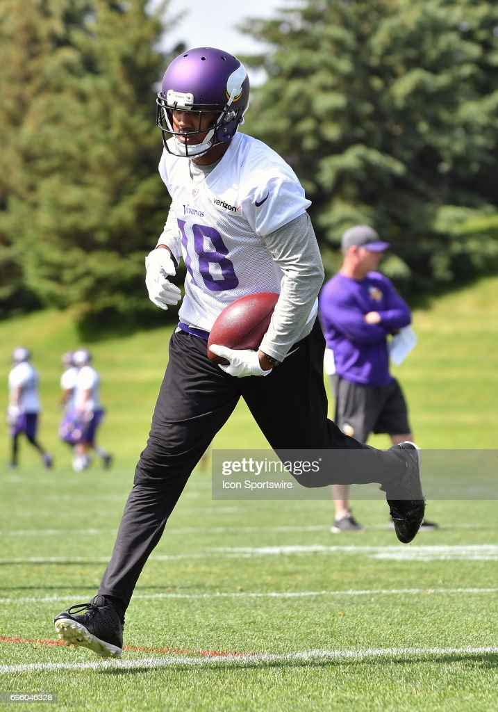 Minnesota Vikings wide receiver Michael Floyd (18) runs after the catch during Minnesota Vikings Minicamp on June 14, 2017 at Winter Park in Eden Prairie, MN.