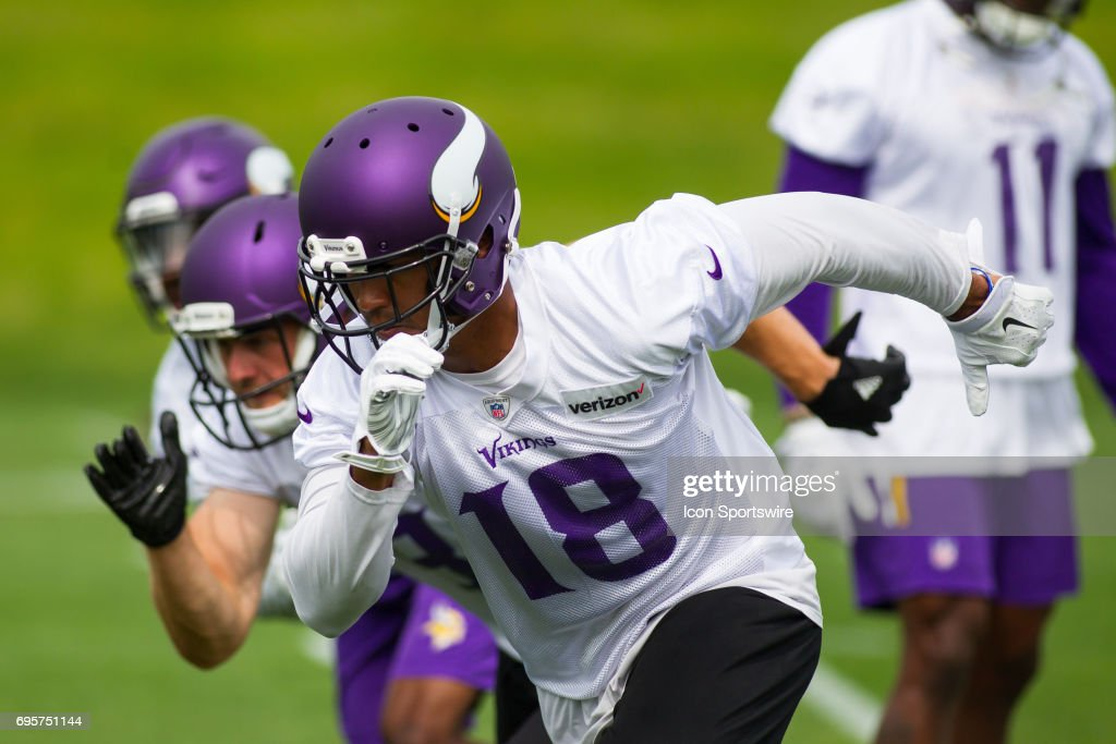 Minnesota Vikings wide receiver Michael Floyd (18) takes part in a drill during the Vikings Minicamp at Winter Park on June 13, 2017 in Eden Prairie, Minnesota.