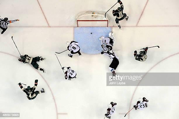 Minnesota Wild center Mikael Granlund takes a game winning shot on Colorado Avalanche goalie Semyon Varlamov in overtime to defeat the Colorado...