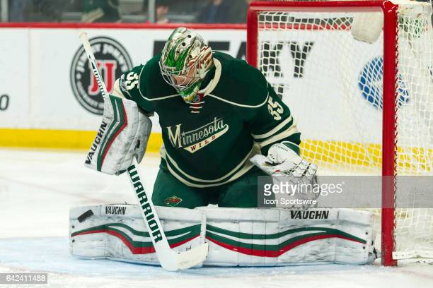 Minnesota Wild goalie Darcy Kuemper makes a save in the 1st period during the Central Division game between the Dallas Stars and the Minnesota Wild...