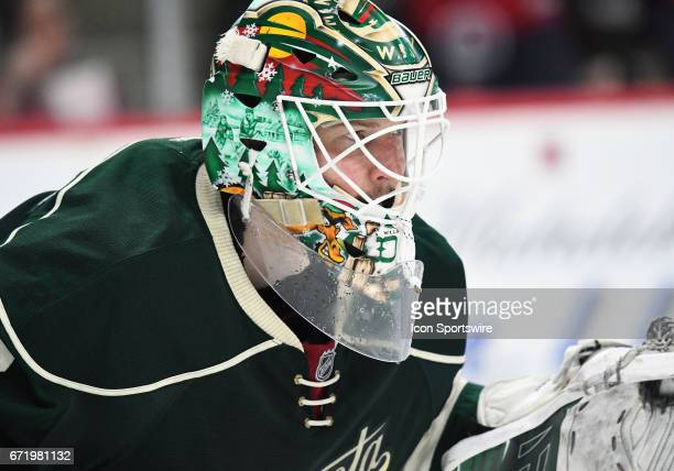 Minnesota Wild Goalie Devan Dubnyk gets set during game 5 of the NHL Western Conference Quarter Final between the Minnesota Wild and the St Louis...