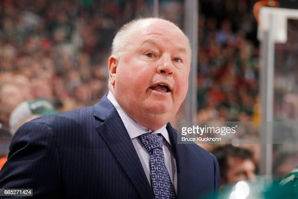 Minnesota Wild head coach Bruce Boudreaux leads his team against the Ottawa Senators on March 30 2017 at the Xcel Energy Center in St Paul Minnesota