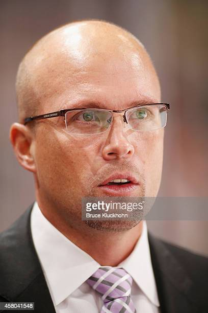 Minnesota Wild Head Coach Mike Yeo leads his team during the game against the Arizona Coyotes on October 23 2014 at the Xcel Energy Center in St Paul...