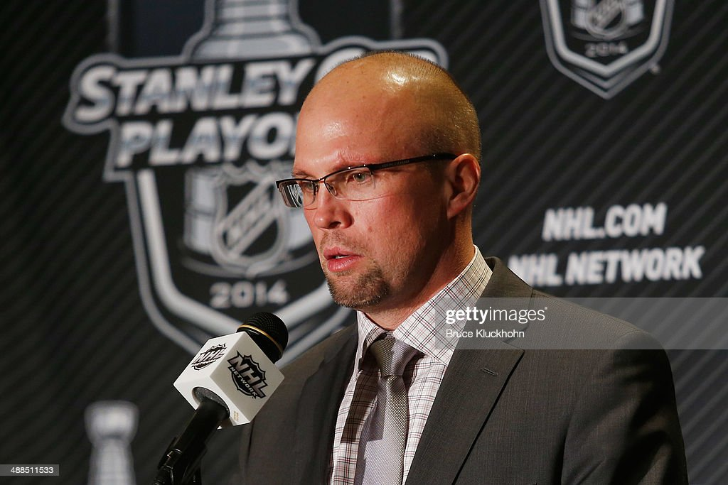 Minnesota Wild Head Coach <a gi-track='captionPersonalityLinkClicked' href=/galleries/search?phrase=Mike+Yeo&family=editorial&specificpeople=2235287 ng-click='$event.stopPropagation()'>Mike Yeo</a> speaks during a press preference after his team defeated the Chicago Blackhawks during Game Three of the Second Round of the 2014 Stanley Cup Playoffs on May 6, 2014 at the Xcel Energy Center in St. Paul, Minnesota.