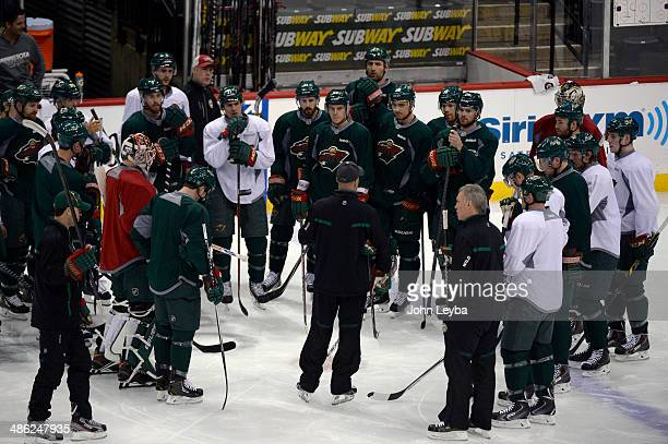 Minnesota Wild head coach Mike Yeo stalks to the team prod to their practice April 23 2014 at Xcel Energy Center