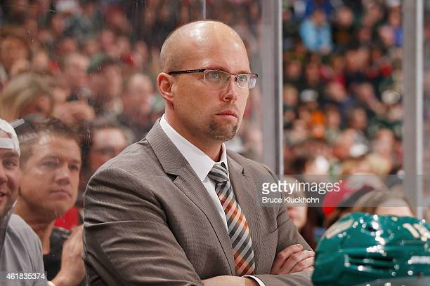 Minnesota Wild head coach Mike Yeo watches from behind the bench during the game against the Arizona Coyotes on January 17 2015 at the Xcel Energy...