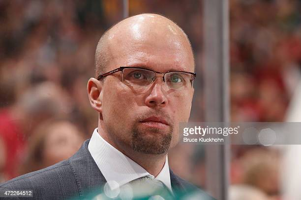 Minnesota Wild head coach Mike Yeo watches from behind the bench against the St Louis Blues in Game Six of the Western Conference Quarterfinals...