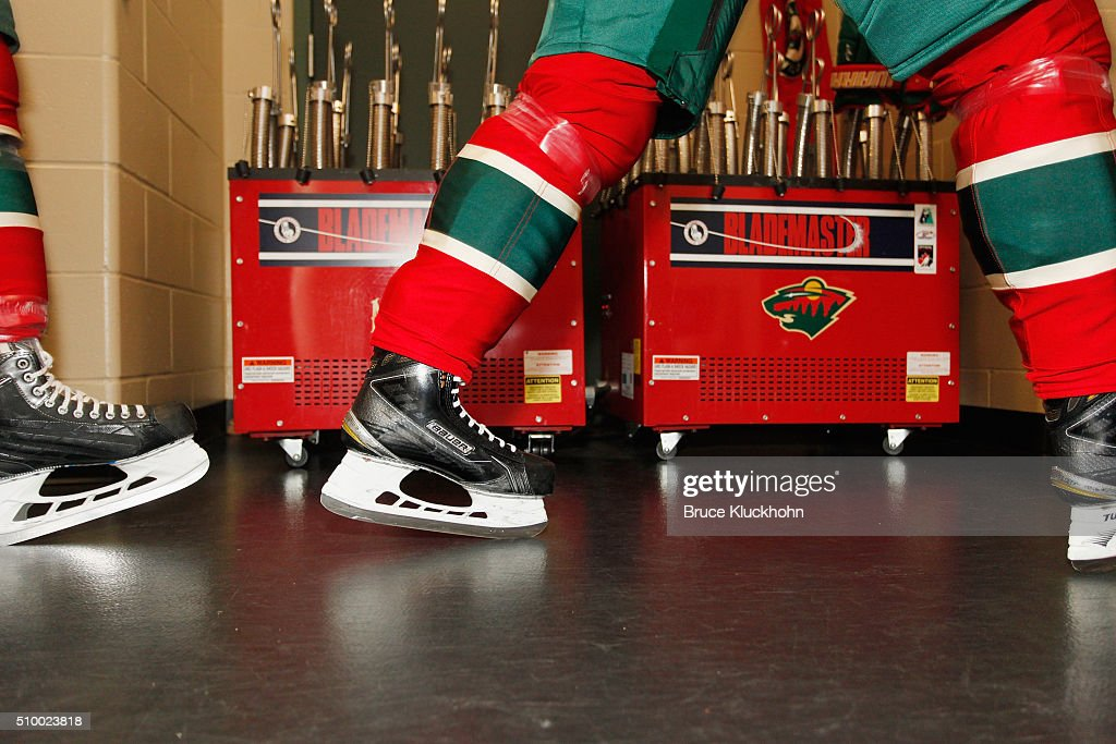 Minnesota Wild players make their way to the ice prior to the game against the Boston Bruins on February 13, 2016 at the Xcel Energy Center in St. Paul, Minnesota.