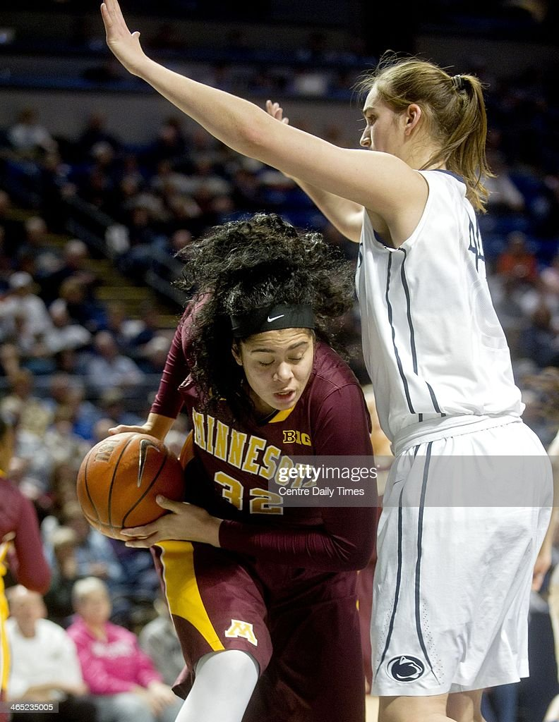 Minnesota's Amanda Zahui B. tries to push around Penn State's Tori Waldner during a women's college basketball game at the Bryce Jordan Center in State College, Pa., on Sunday, Jan. 26, 2014. The Penn State Lady Lions defeated the Minnesota Gophers, 83-53.