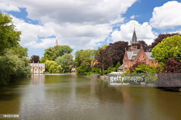 Minnewater Castle In Bruges, Belgium
