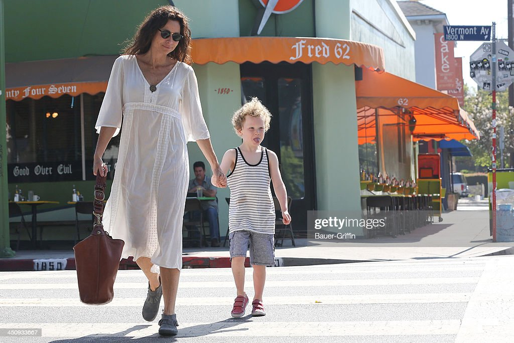 Minnie Driver and her son Henry Story Driver are seen on August 16 2013 in Los Angeles California
