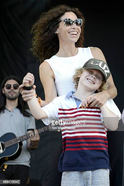 Minnie Driver and her son perform during the KAABOO Festival 2015 at Del Mar Fairgrounds on September 20 2015 in Del Mar California