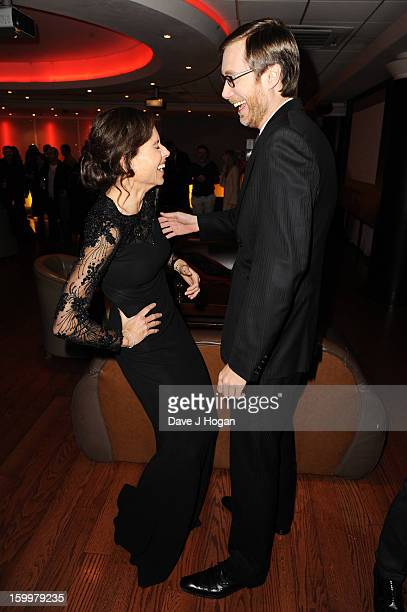 Minnie Driver and Stephen Merchant attend the European premiere of 'I Give It A Year' at The Vue West End on January 24 2013 in London England