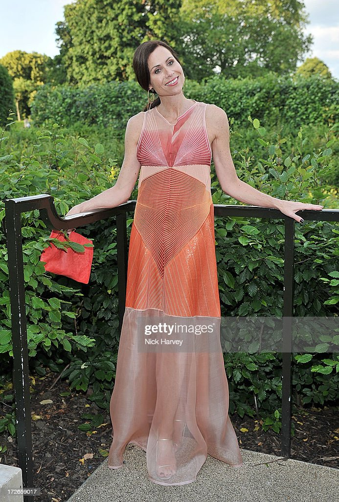 Minnie Driver attends the launch party for the Fashion Rules exhibition, a collection of dresses worn by HRH Queen Elizabeth II, Princess Margaret and Diana, Princess of Wales at Kensington Palace on July 4, 2013 in London, England.