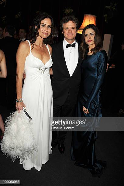 Minnie Driver Colin Firth and Livia Giuggioli attend the Soho House Grey Goose After Party at Grovesnor House Hotel on February 13 2011 in London...