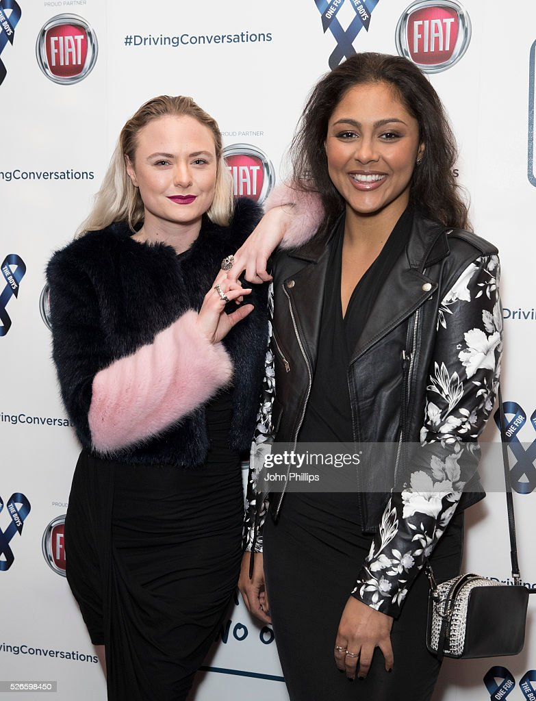 Minnie Harding and Marina Monsour arrive at the One For The Boys Charity Event Masquerave sponsored by FIAT at the Troxy on April 30, 2016 in London, England.