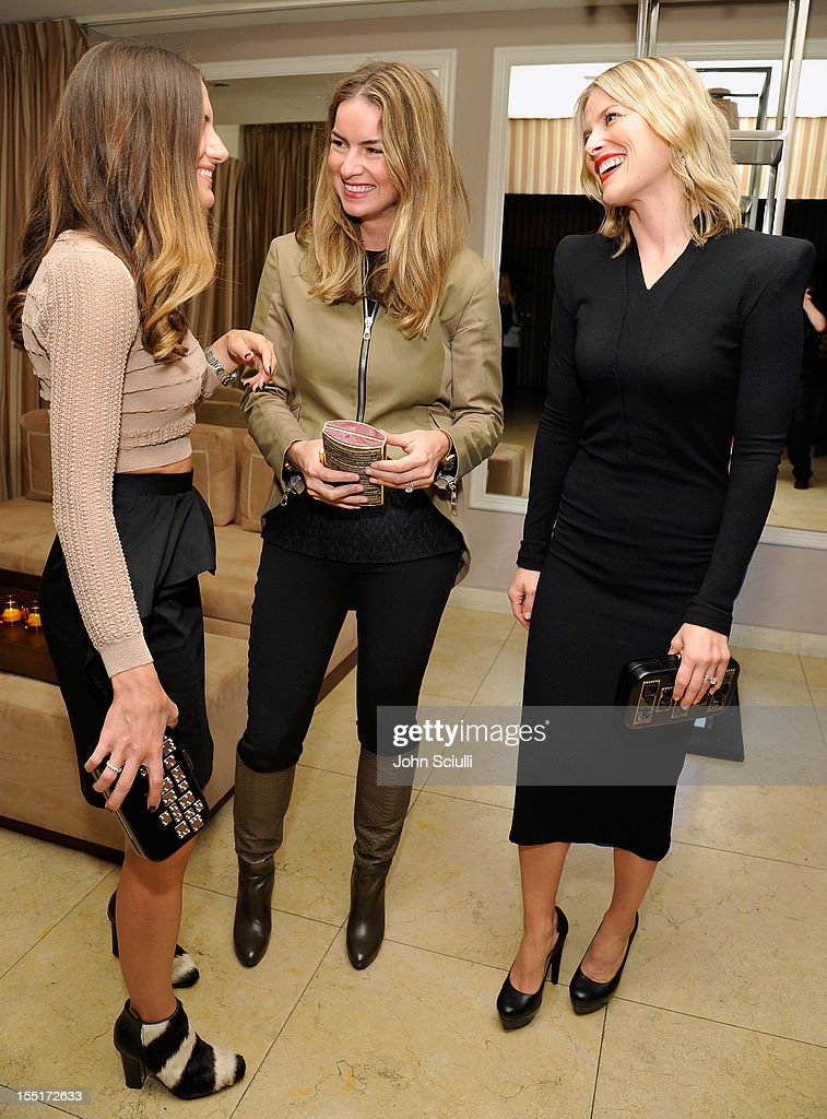 Minnie Mortimer Gaghan, Claiborne Swanson Frank and Ali Larter attend a dinner hosted by Ali Larter celebrating the Devi Kroell Spring Summer 2013 Collection at Sunset Tower on November 1, 2012 in West Hollywood, California.