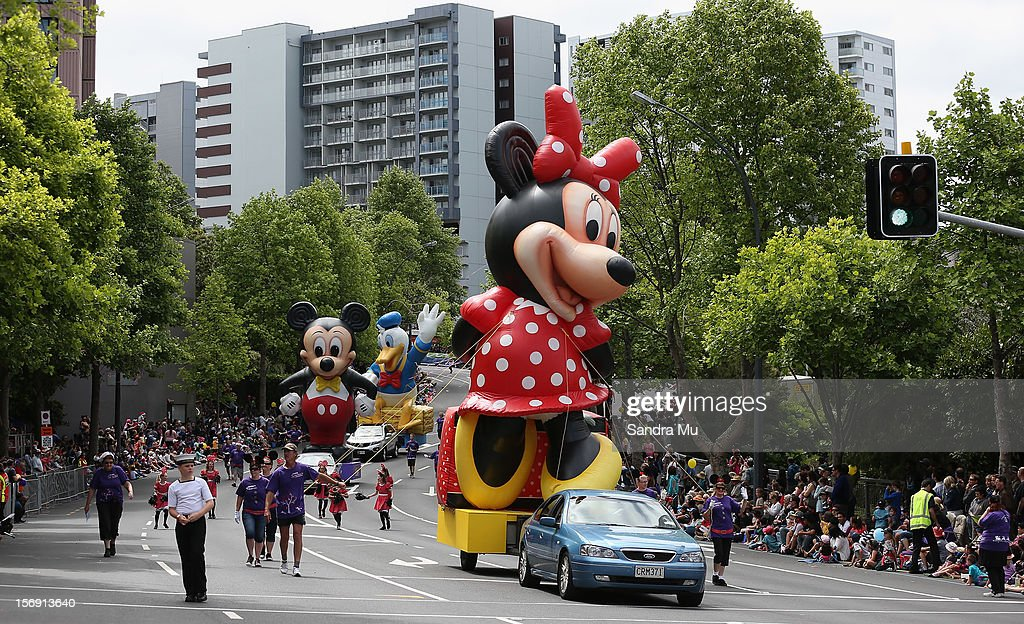 Minnie Mouse, Mickey Mouse and Donald Duck feature in the annual Farmers Santa Parade on November 25, 2012 in Auckland, New Zealand. For 78 years the Farmers Santa Parade has brought joy to the children of Auckland marking the start of the Christmas season.