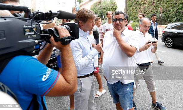 Mino Raiola looks on during the UEFA Champions League Group stage draw ceremony at the Grimaldi Forum Monte Carlo in Monaco on August 24 2017