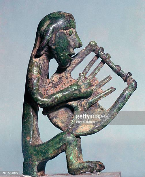 Minoan bronze of a harpist at the Archaeological Museum in Heracleion Crete
