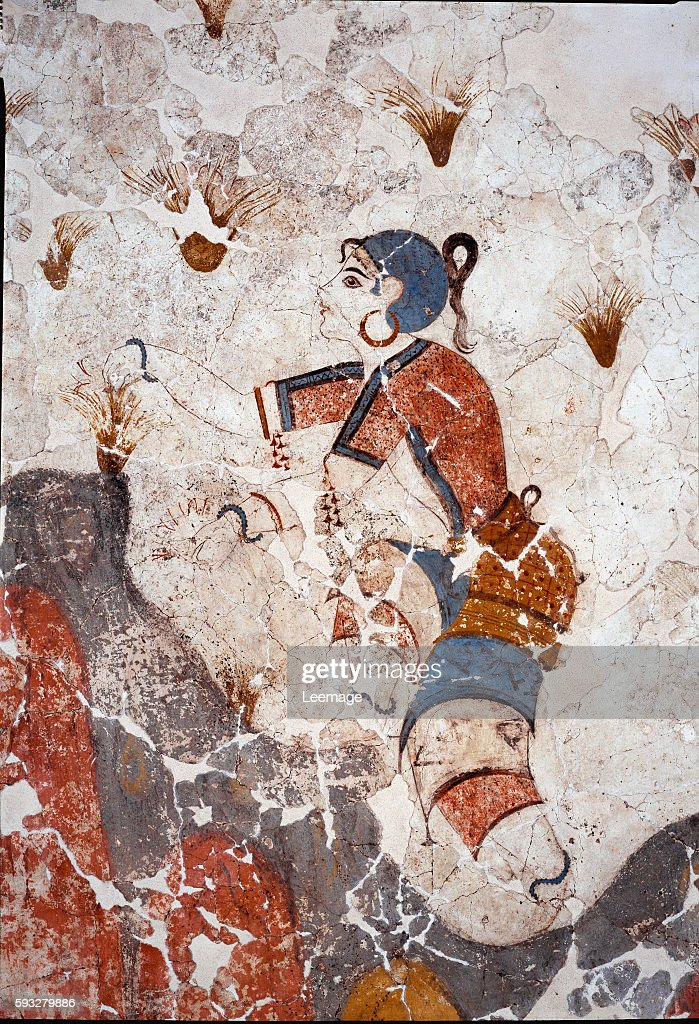 women picking saffron Detail of a fresco from the lustral basin in Xeste 3 at Akrotiri Santorini 244 x2 66 cm 16th century BC Collection of frescoes...