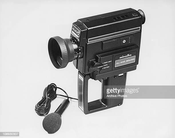 A Minolta XL440 Sound Super 8 film camera with microphone circa 1977