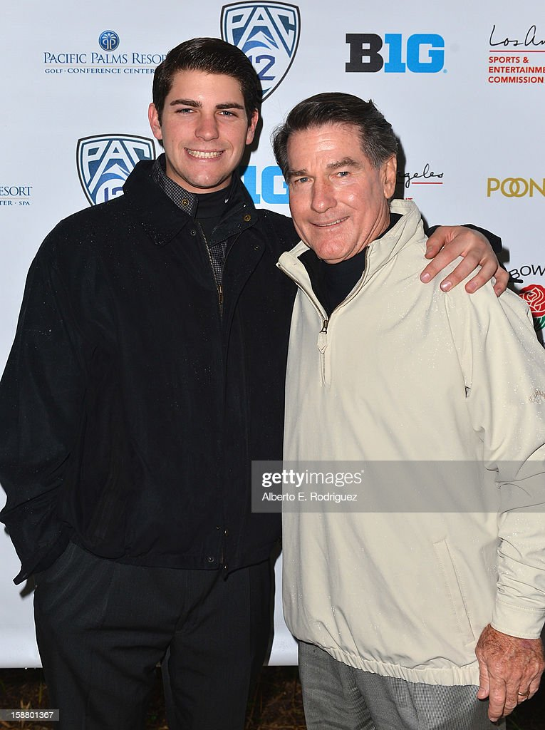 Minor Leage Baseball player Ryan Garvey and father, former MLB player <a gi-track='captionPersonalityLinkClicked' href=/galleries/search?phrase=Steve+Garvey&family=editorial&specificpeople=210829 ng-click='$event.stopPropagation()'>Steve Garvey</a> arrive to the innaugural Rose Bowl Game Golf Classic at Industry Hills Golf Course on December 29, 2012 in City of Industry, California.