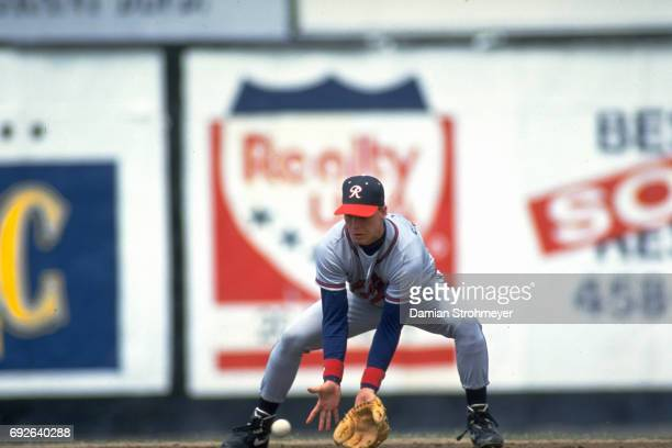 Richmond Braves Chipper Jones in action fielding vs Syracuse Chiefs at MacArthur Stadium Syracuse NY CREDIT Damian Strohmeyer