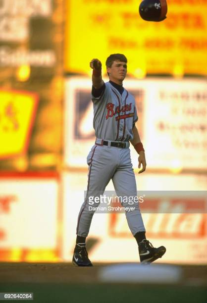 Richmond Braves Chipper Jones looking upset tossing helmet after making an out vs Syracuse Chiefs at MacArthur Stadium Syracuse NY CREDIT Damian...