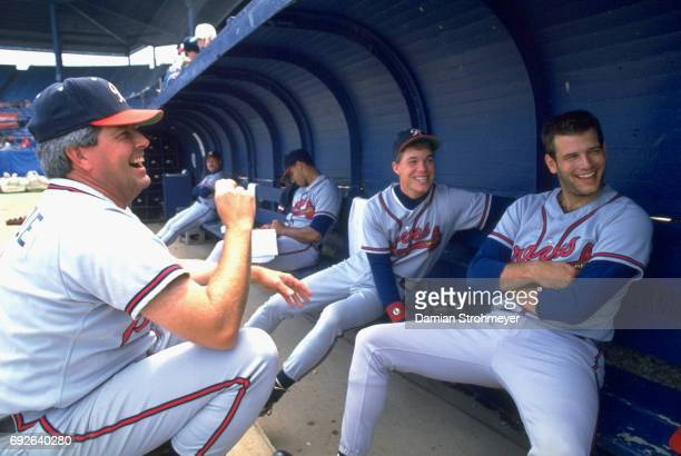 Richmond Braves manager Grady Little Chipper Jones and Mark Wohlers in dugout before game vs Syracuse Chiefs at MacArthur Stadium Syracuse NY CREDIT...