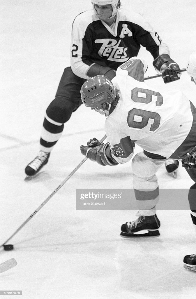 Sault Ste. Marie Greyhounds Wayne Gretzky (99) in action vs Peterborough Petes. Ontario Hockey League. Sault Ste. Marie, Canada 1/13/1978