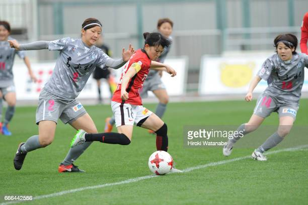 MInori Kishi of Chifure AS Elfen Saitama and Hanae Shibata of Urawa Red Diamonds Ladies compete for the ball during the Nadeshiko League Cup Group B...