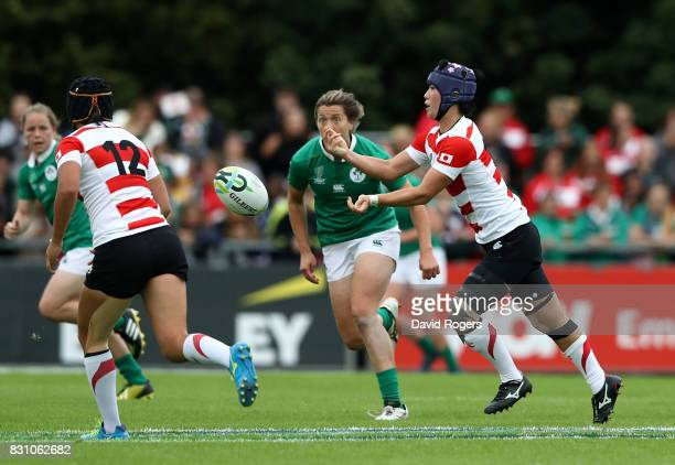 Minori Yamamoto of Japan passes during the Women's Rugby World Cup 2017 match between Ireland and Japan on August 13 2017 in Dublin Ireland